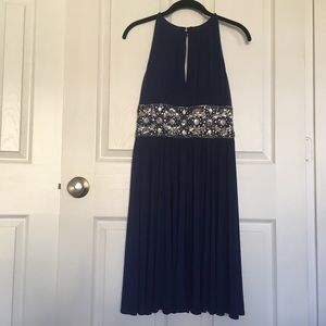 Navy cocktail dress with gems